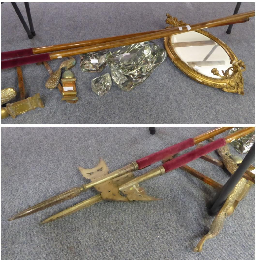 Tennants Auctioneers: Assorted items comprising a pair of peacock fire dogs