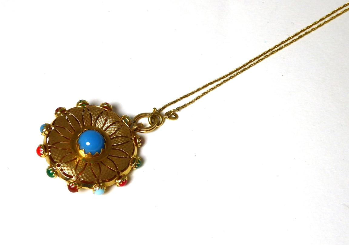 Tennants Auctioneers: A multi-gemstone set pendant