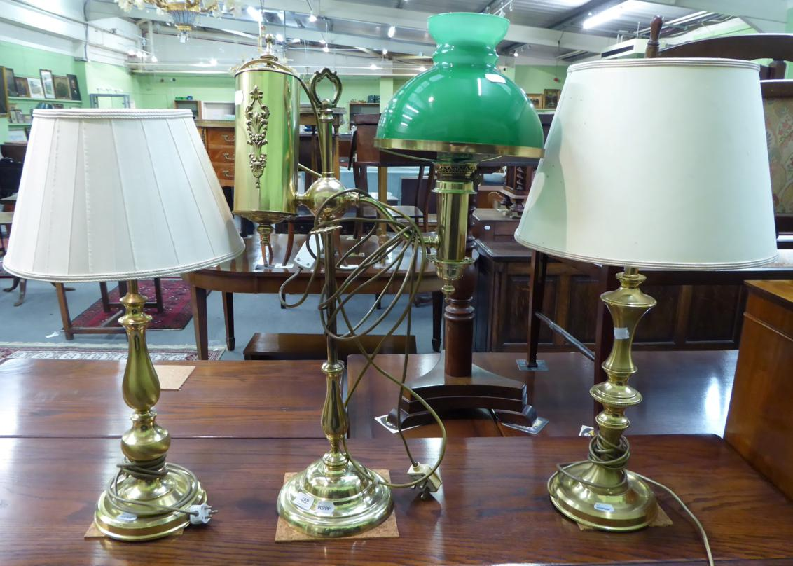 Tennants Auctioneers: Three various brass table lamps