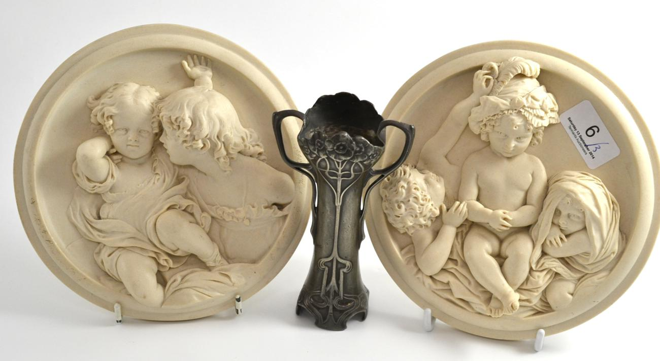 tennants auctioneers a wmf art nouveau pewter vase and a pair of reproduction plaques. Black Bedroom Furniture Sets. Home Design Ideas