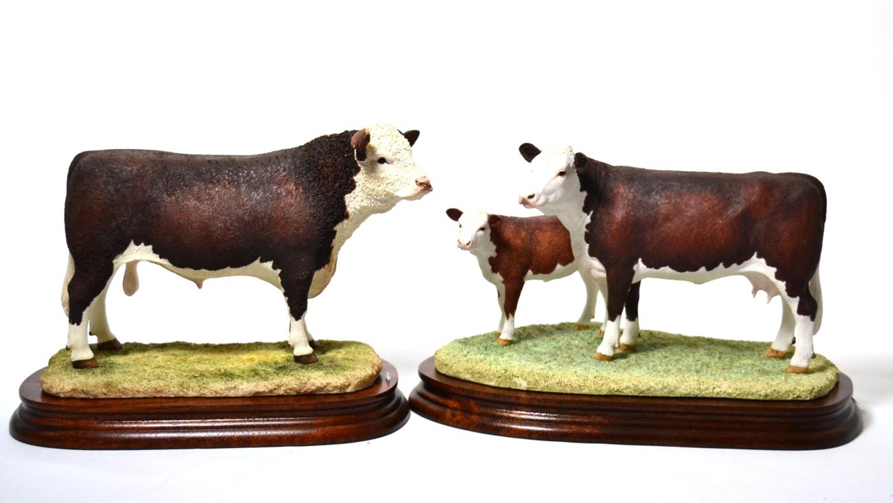 Tennants Auctioneers: Border Fine Arts 'Hereford Cow and Calf'