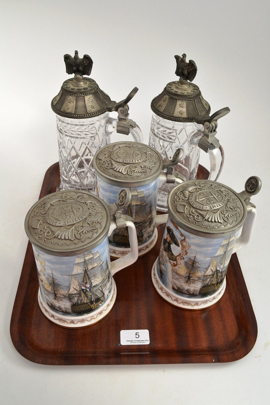 Tennants Auctioneers: Three Royal Worcester commemorative tankards and two glass and pewter lidded tankards (5)