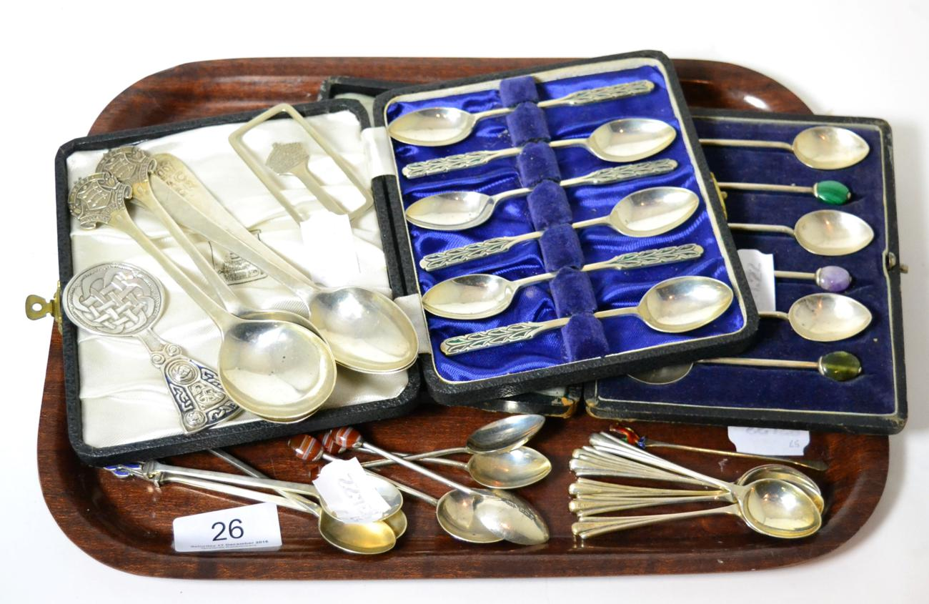 Tennants Auctioneers: Two cased sets of six silver teaspoons