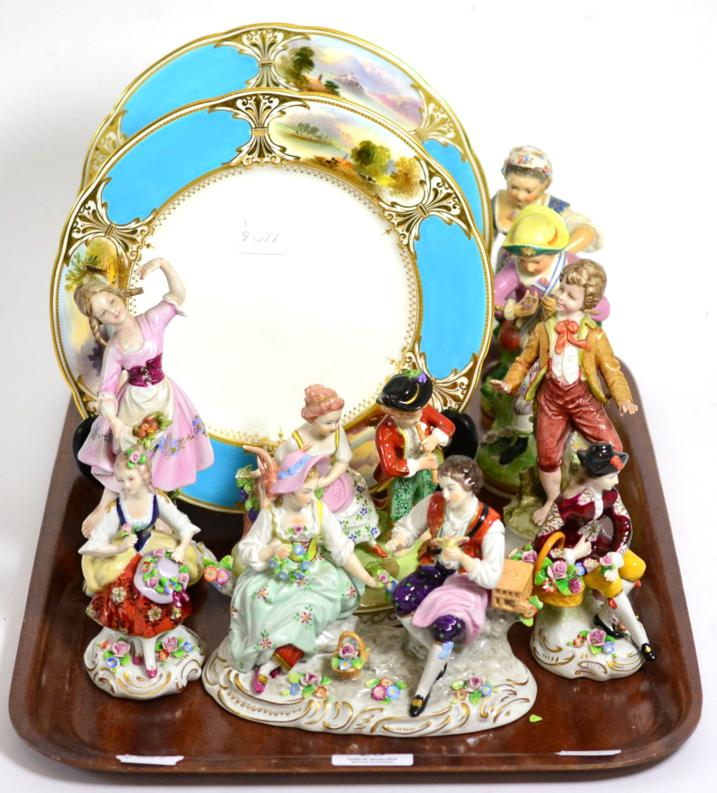 Tennants Auctioneers: A group of 19th century porcelain including two Copeland dessert plates