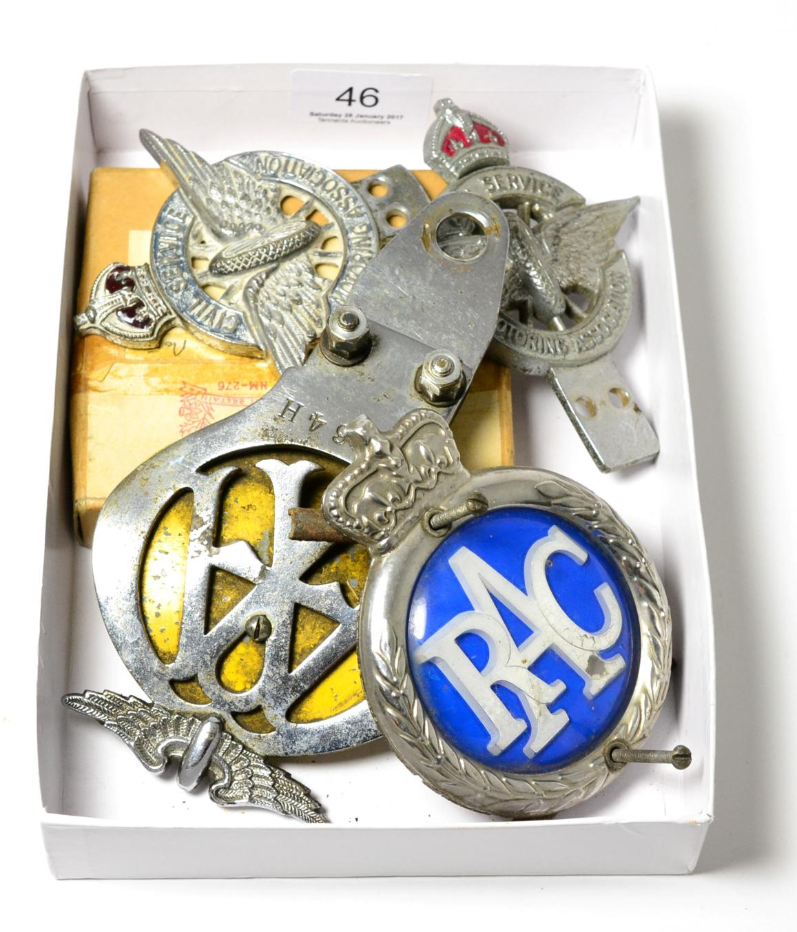 Tennants Auctioneers: Three civil service motoring association badges