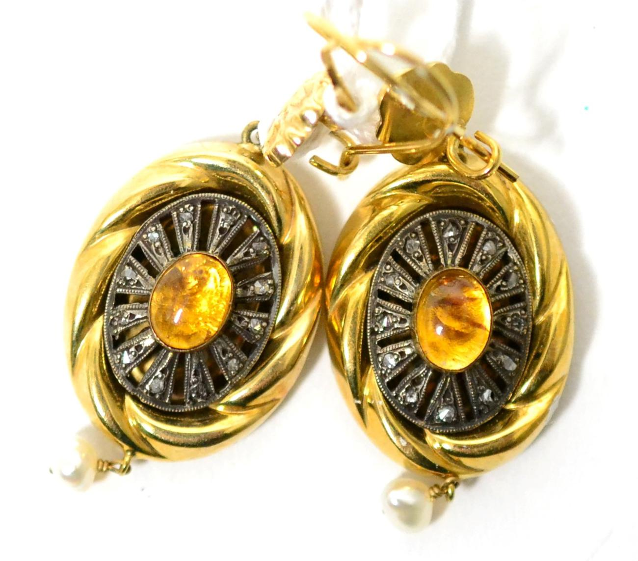 Tennants Auctioneers: A pair of drop earrings