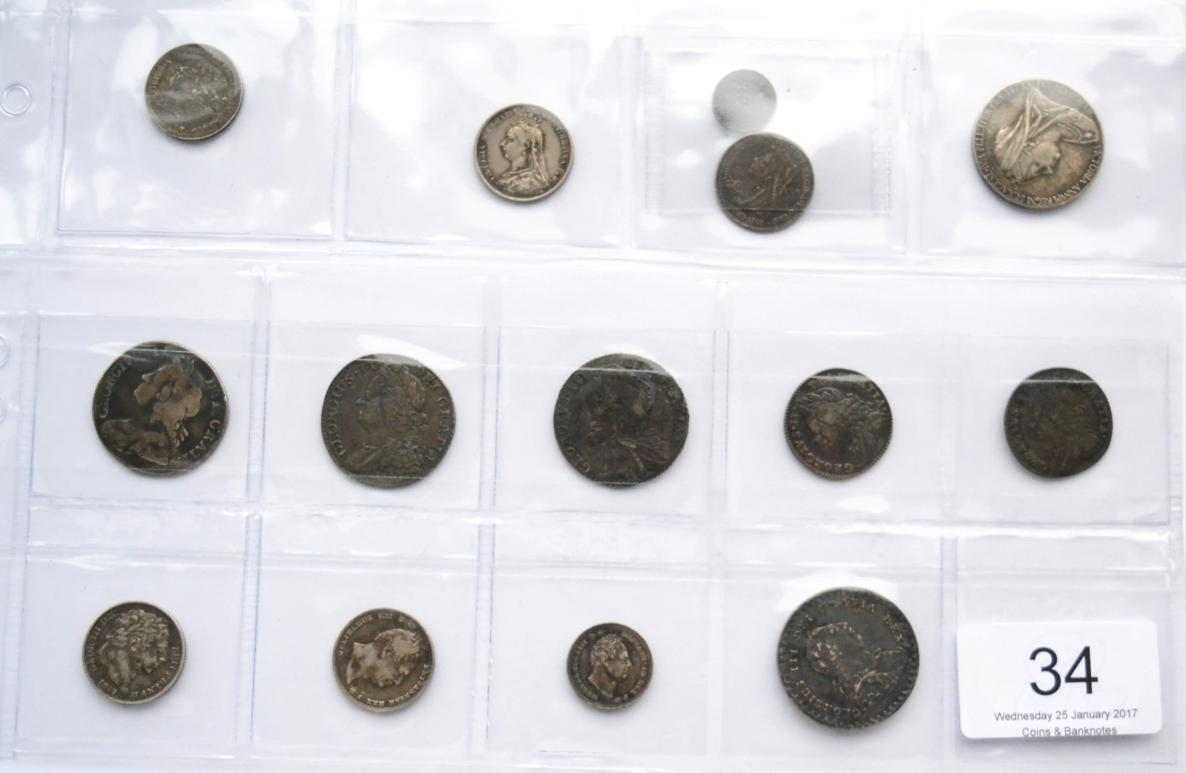 Tennants Auctioneers: 8 x Pre-Victoria English Silver Coins </b>comprising: <b>3 x shillings:</b> 1736 roses & plumes