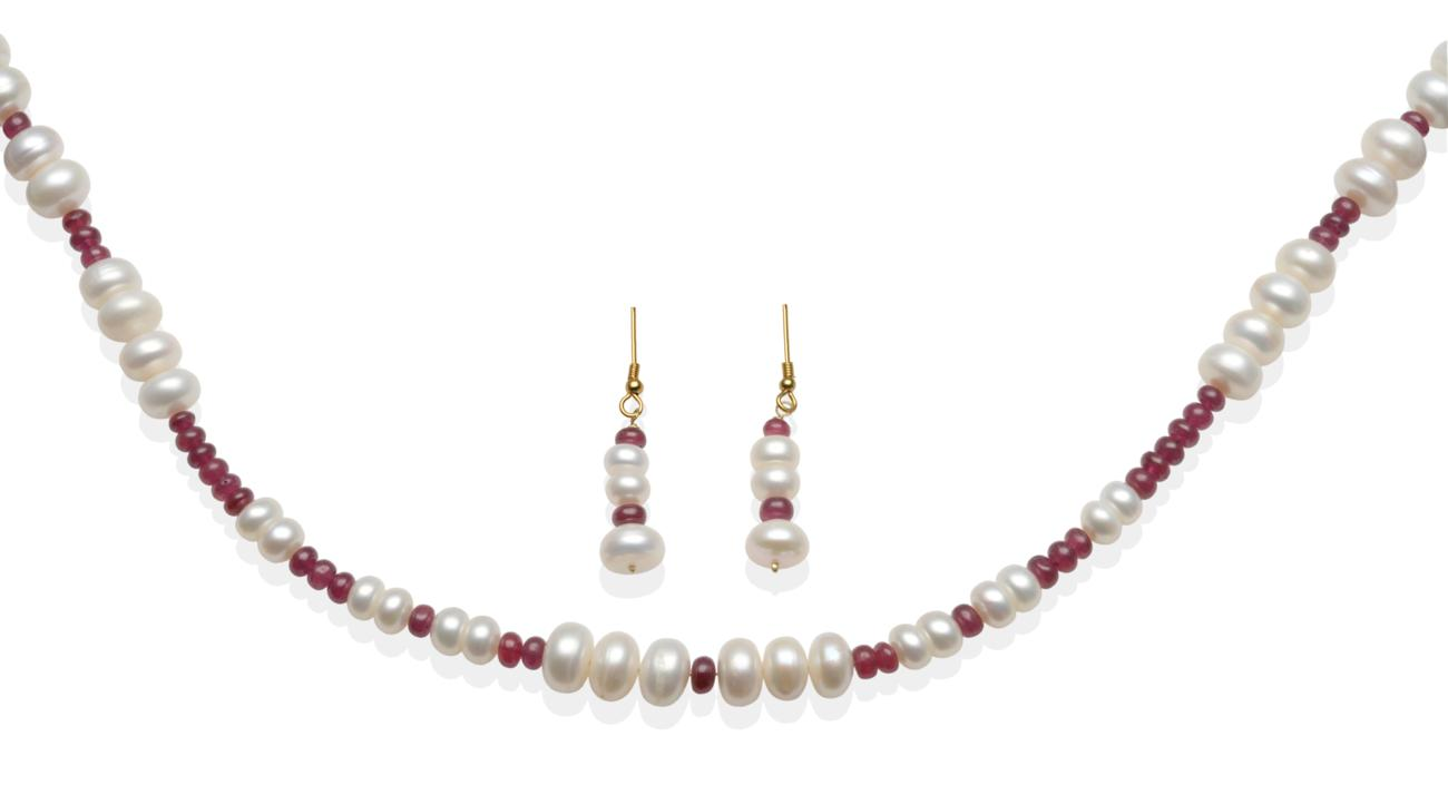 Tennants Auctioneers: <strong>A Cultured Pearl and Ruby Bead Necklace and Earring Suite
